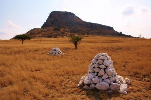 Haunting piles of white stones mark the losses at the Battle of Isandlwana