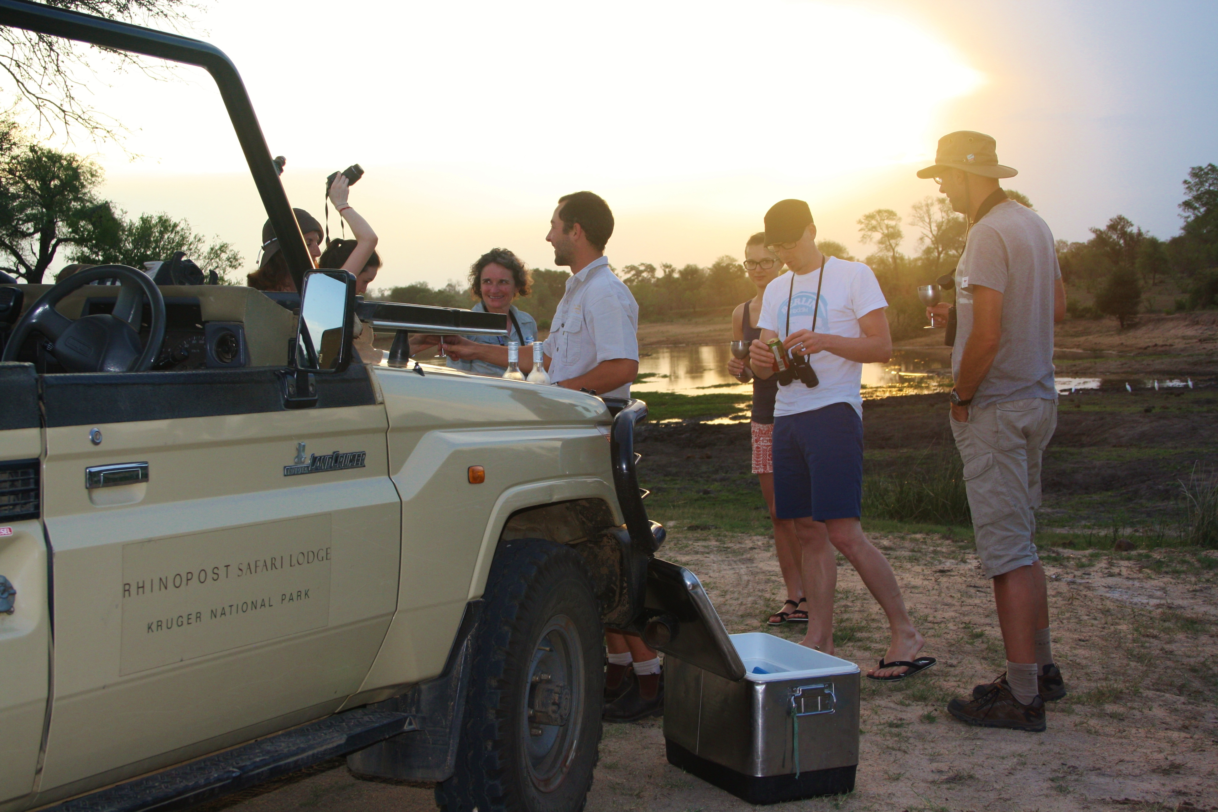 Sundowners at sunset on safari in the Kruger National Park