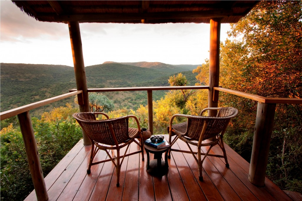 Each private deck has views down the valley