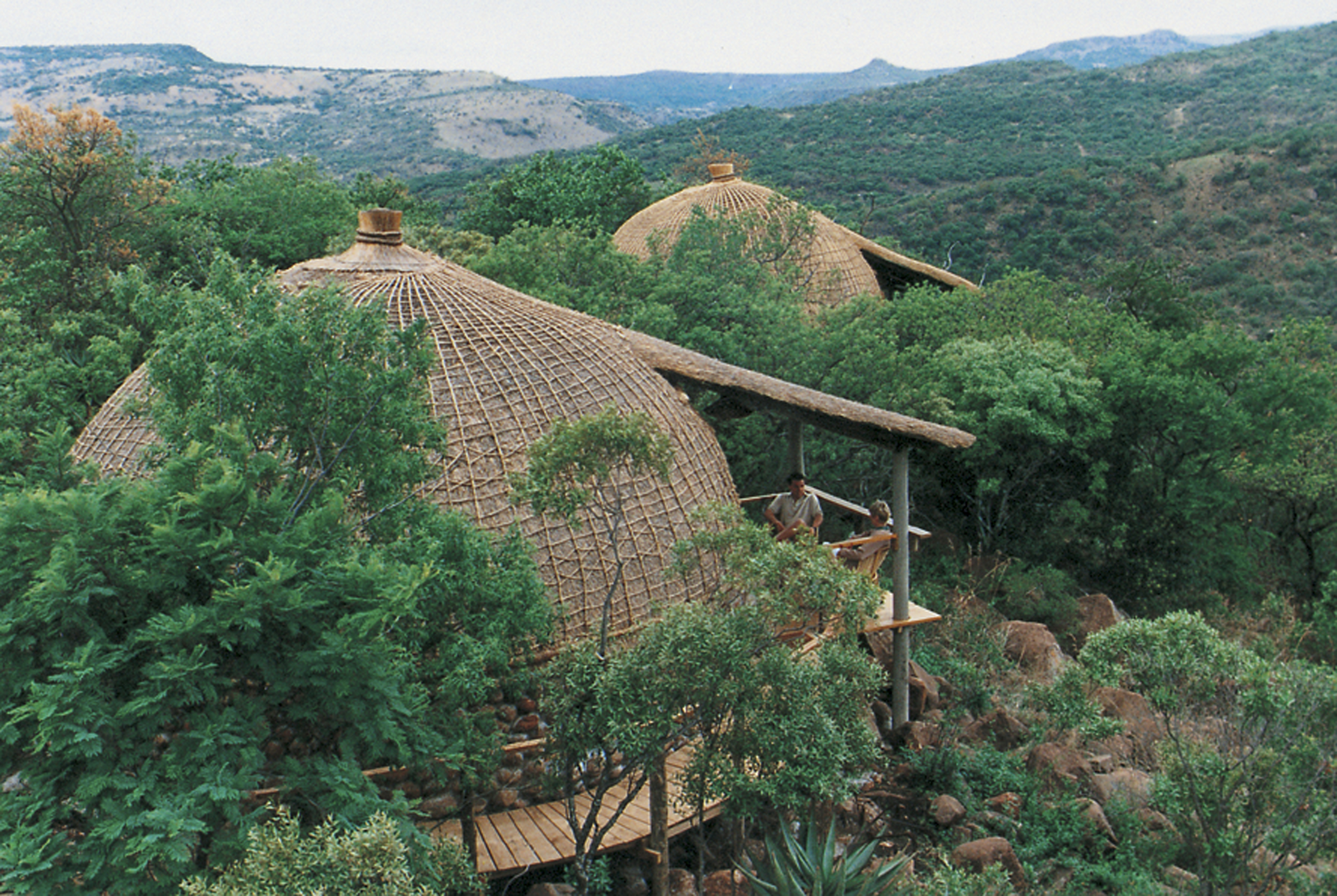 Traditional thatched 'rondavels' of Isibindi Zulu Lodge